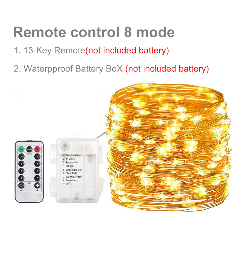 10m 100LED Light String Fairy Light Battery Powered Waterproof Elf Lights With Remote Control 8mode Copper Wire Christmas Light