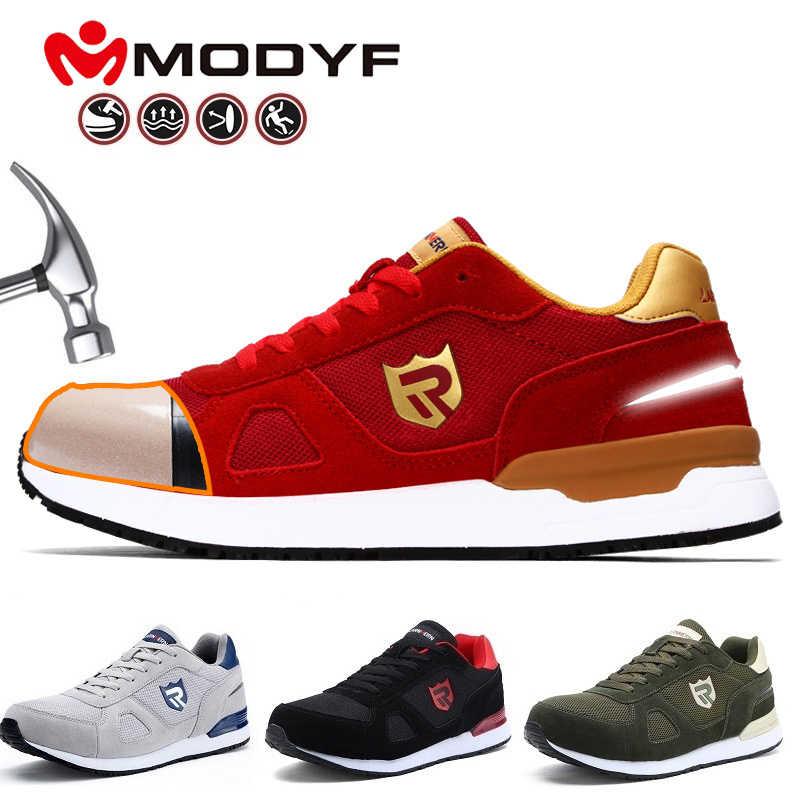 LRNEMRN iş güvenliği için ayakkabı erkekler kadın çelik ayak hafif nefes SRC kaymaz S3 endüstriyel ayakkabı siyah kırmızı mavi gri