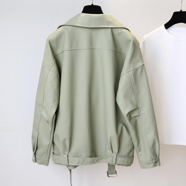 Fitaylor New Spring Women Loose Pu Faux Leather Jacket with Belt Streetwear Moto Biker Black Coat BF Style Oversized Outwear 3