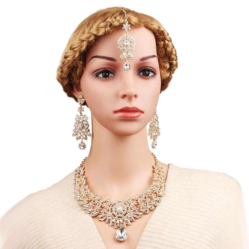 FARLENA Jewelry Clear Crystal Rhinestones Chandelier Necklace Earrings Frontal chain Romantic Indian Bridal Jewelry sets