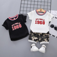 Boys Clothing Set Letter Cotton Tshirt Summer Kids Baby T-shit+Pants Camouflage Shorts Outfits kids clothes conjunto infantil #E недорого