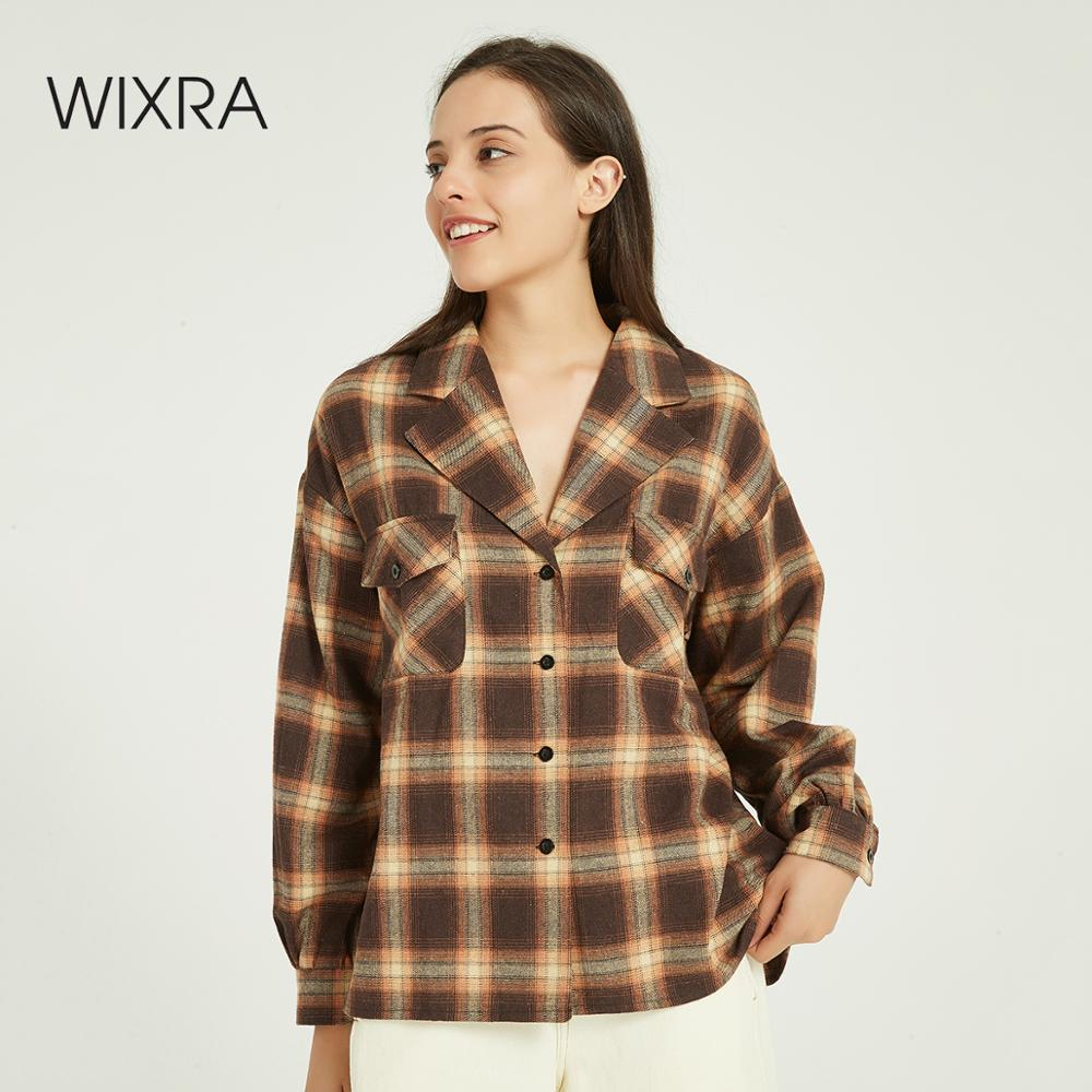Wixra Women Plaid Blouse Ladies Casual Long Sleeve Loose Turn-down Collar Double Pockets Thick Shirts Autumn Spring Tops