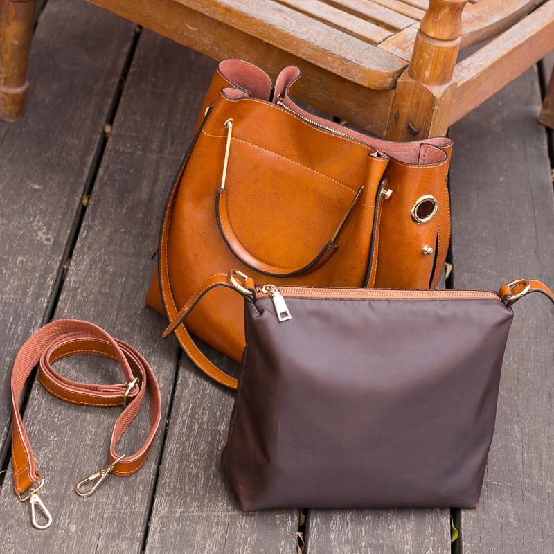 Fashion Brown 100% Genuine Leather Women Handbag Simple Travel Tote Bag Large Capacity Lady Shoulder Bags Crossbody Purse