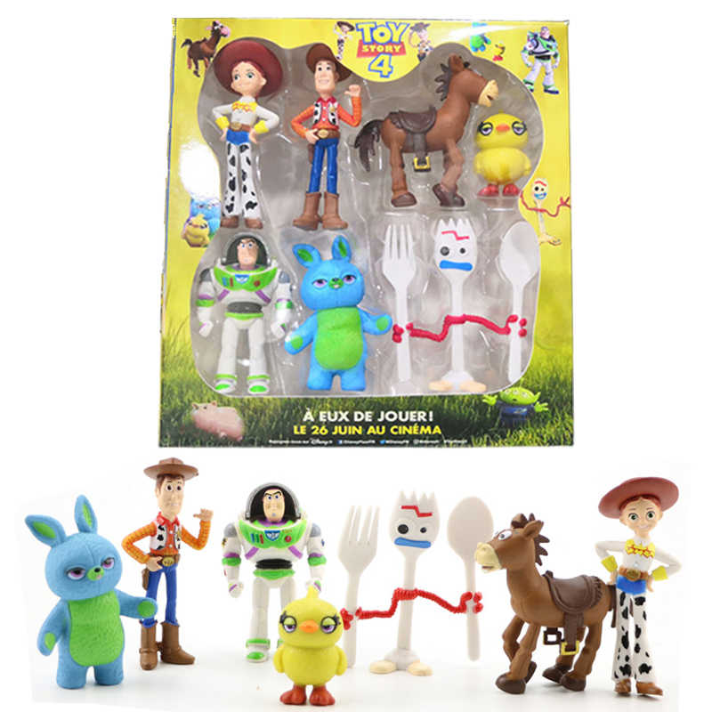 7 stks/set Toy Story 4 Buzz Lightyear Forky Cartoon Woody Jessie Slinky Hond Action Figure Collectible Speelgoed Pop voor Kinderen 4-7CM