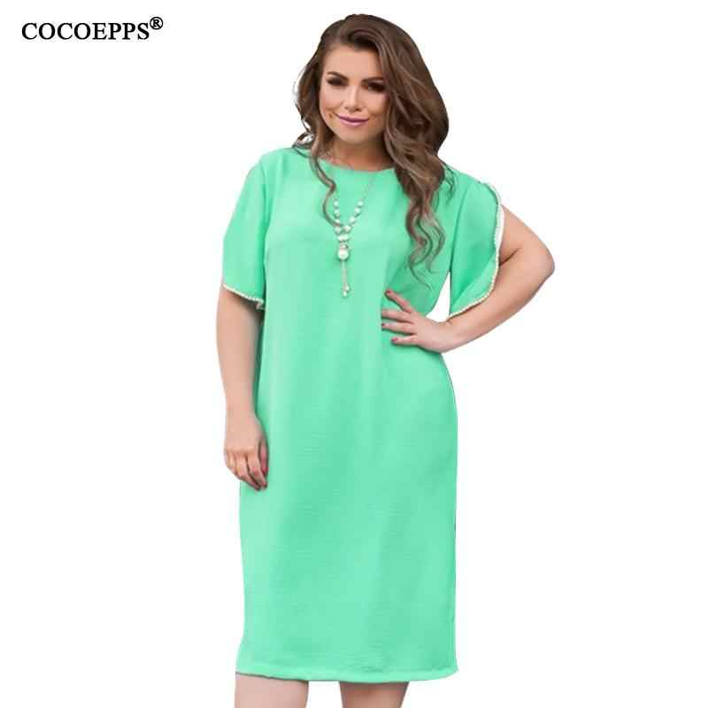 5XL 6XL Autumn Plus Size Women Dress 2019 Casual Large Size Office Ladies Work Dress Green Big Size Female Loose Party Vestidos