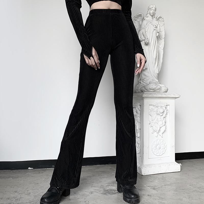 InsGoth Long Sleeve Crop Top Women Black Sets Streetwear Gothic Flare Pants Off Shoulder Bodycon Tops Casual Fashion Female Sets 1