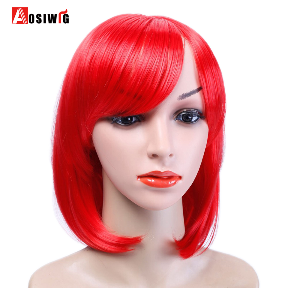 AOSIWIG 12Inch Mdeium Length Straight Lolita Cospaly Wig With Bangs Red Pink Brown Wig Heat Resistant Synthetic Wig For Women