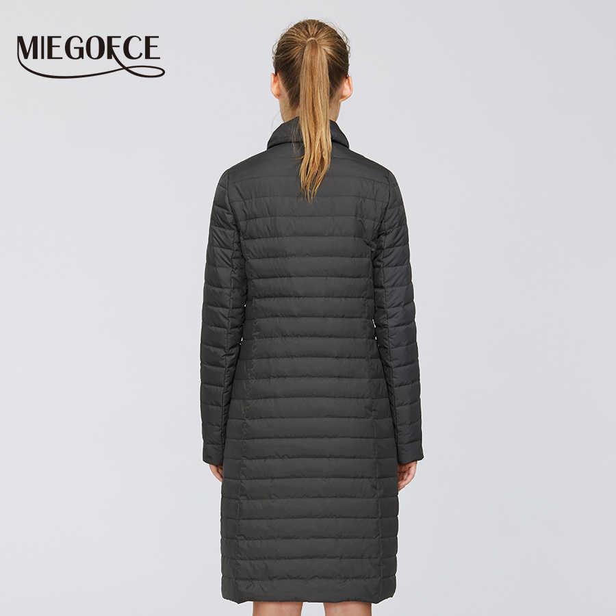 MIEGOFCE 2020 새로운 봄 디자인 긴 모델 여성 자 켓 절묘 한 누비 이불 여성 코트 봄 Windproof 스카프와 긴 코트