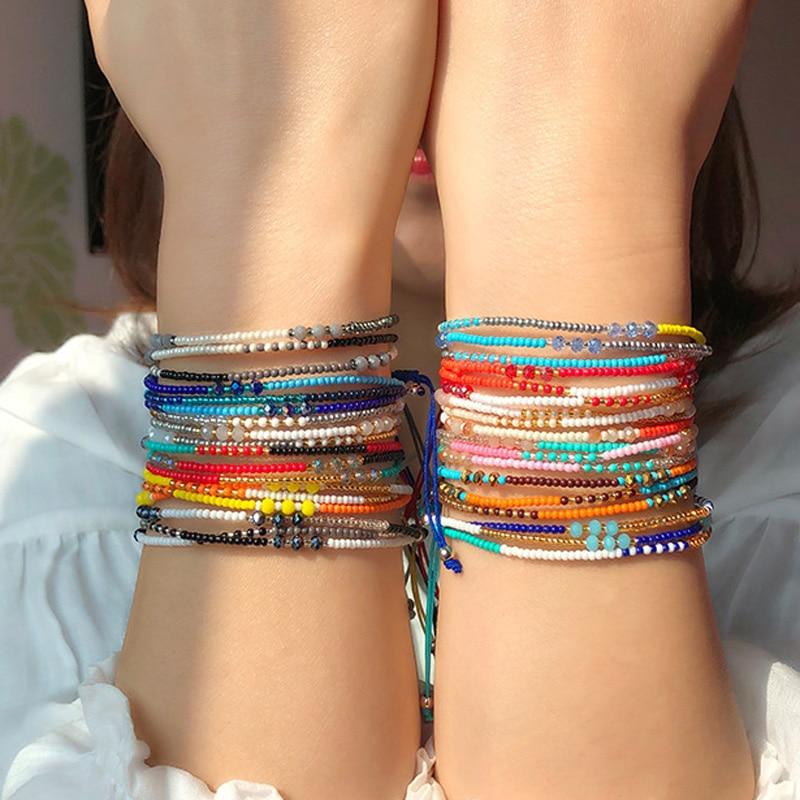 2020 ручной работы в богемном стиле браслет дружбы в этническом стиле разноцветный бисер, браслеты с брелоками для женщин, Пляжная вечерние п...