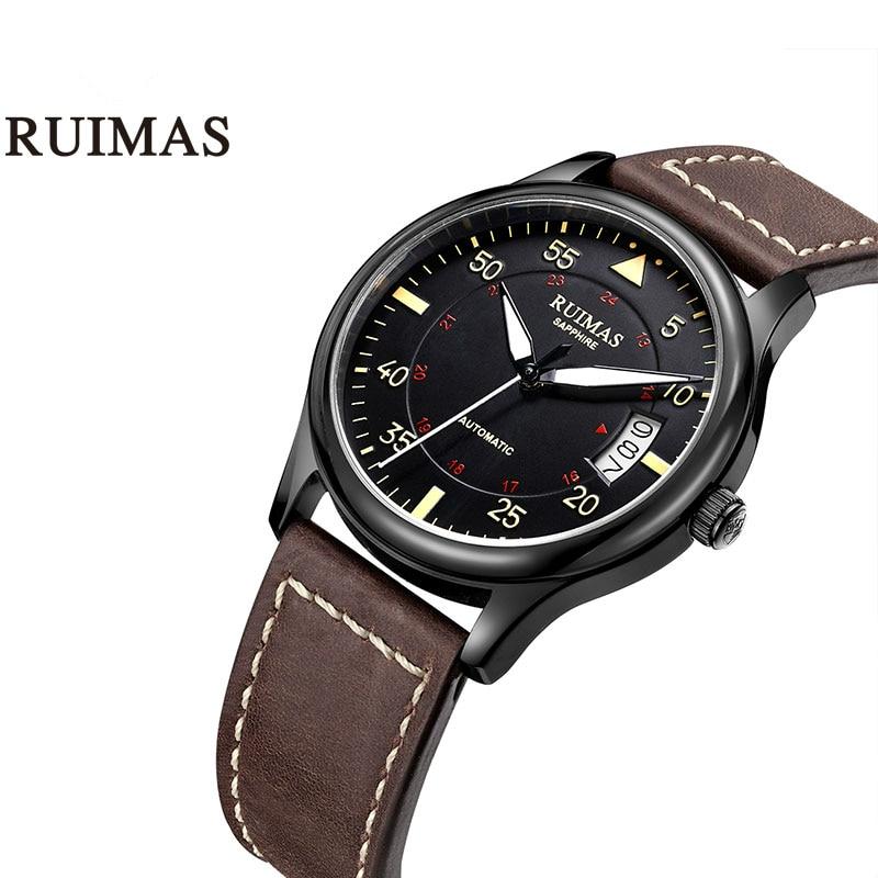 Fashion Japan Automatic Movt Watch Men Leather Strap Business Mechanical Watches RUIMAS Male Clock Wristwatches Erkek Kol Saati