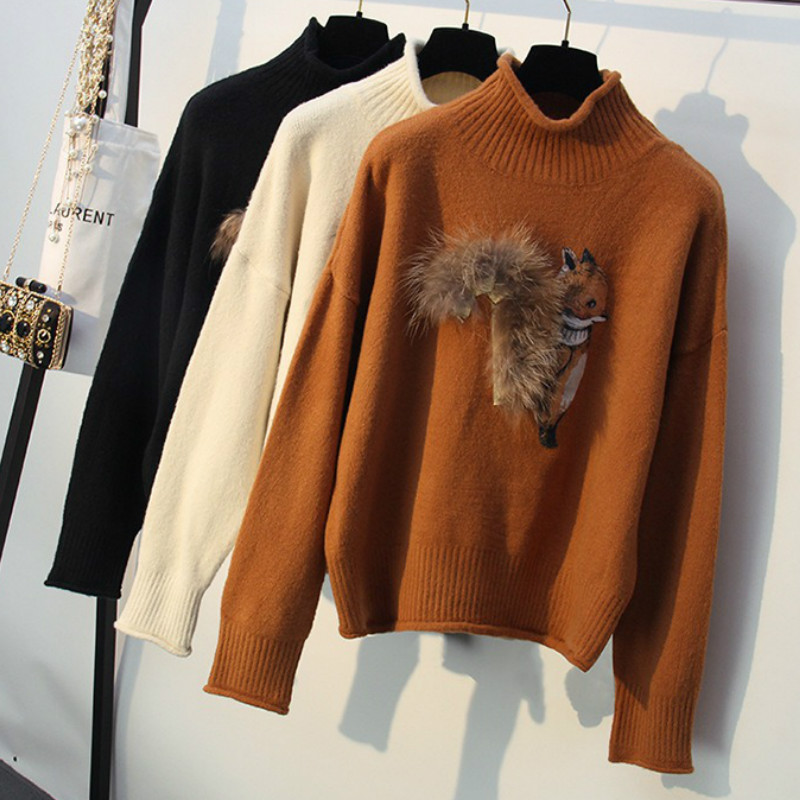 Women Loose Turtleneck Pullovers Cartoon Squirrel Sweater Knitted Shirts Long Sleeve Autumn Winter Tops Harajuku Sueteres Mujer