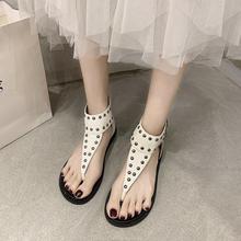 Modne damskie sandały letnie nowe 2021 damskie buty sandały damskie mieszkania sandały buty damskie klapki Cover Heel Ladies Shoes tanie tanio LLOGAI CN (pochodzenie) Niska (1 cm-3 cm) Na co dzień GLADIATORKI Płaskie z Otwarta RUBBER pasek z klamrą Dobrze pasuje do rozmiaru wybierz swój normalny rozmiar