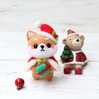 Muñeca de Navidad lana manualidad de fieltro DIY sin terminar pinchado conjunto Kit para manualidades para Material de la aguja bolsa de paquete de Q1QC