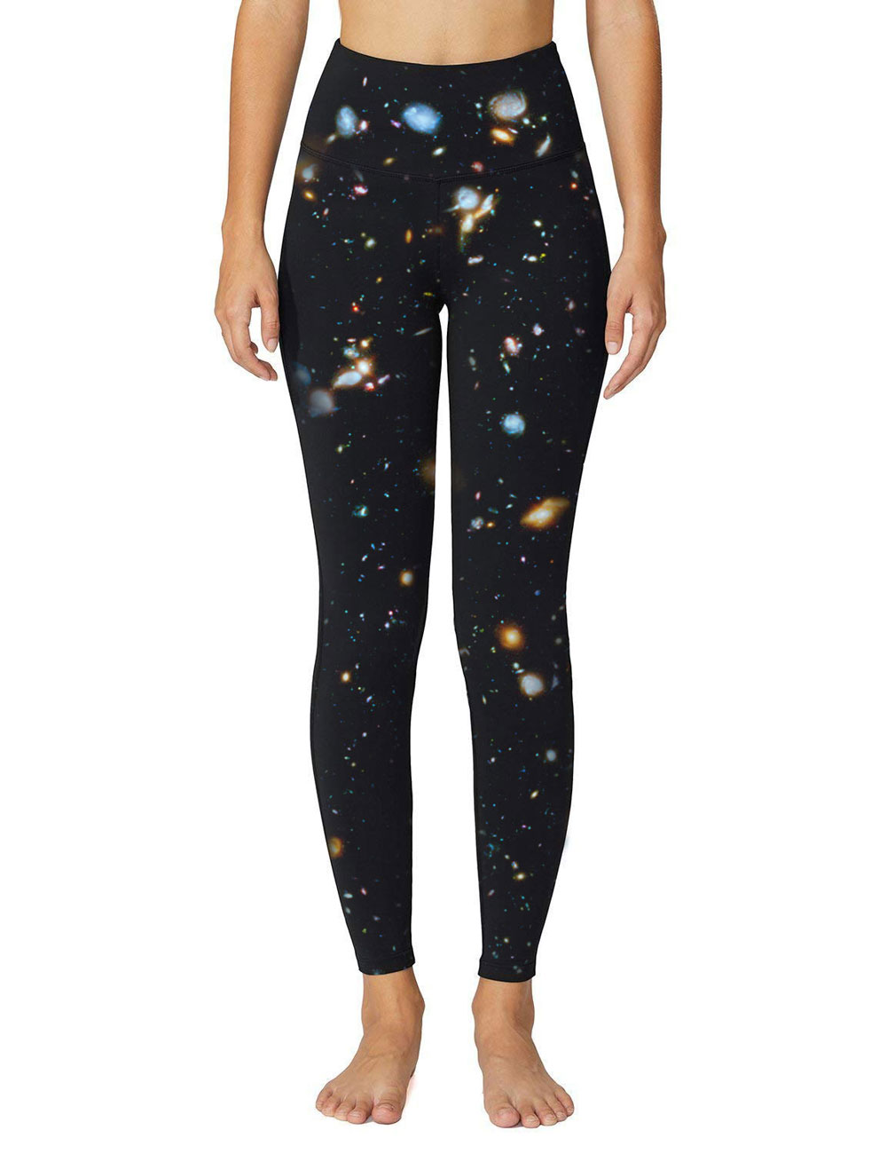 High Quality Universe Galaxies Women's Digital Printed Yoga Capris High Waist Workout Pants Moisture Wicking Running Leggings 1