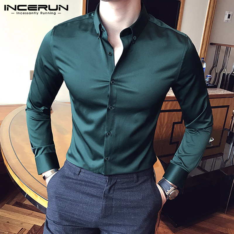INCERUN Fashion Men Dress Shirt Solid Color Silk Satin Lapel Long Sleeve Formal Tops Brand Business Social Shirts Chemise 2020