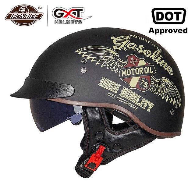 Винтажный мотоциклетный шлем GXT в стиле ретро, мотоциклетный шлем с открытым лицом для скутера, мотоциклетного гоночного шлема с сертификацией DOT
