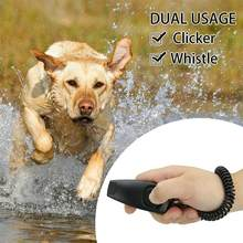 2 in 1 Dog Pet Puppy Cat Training Clicker Whistle Click Trainer Obedience Black(China)