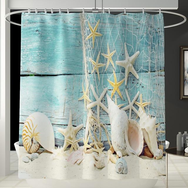 Ensembles décran de bain en tissu polyester | Avec tapis de bain 3 pièces, coque de tapis, rideaux de douche à motifs de plage pour salle de bains