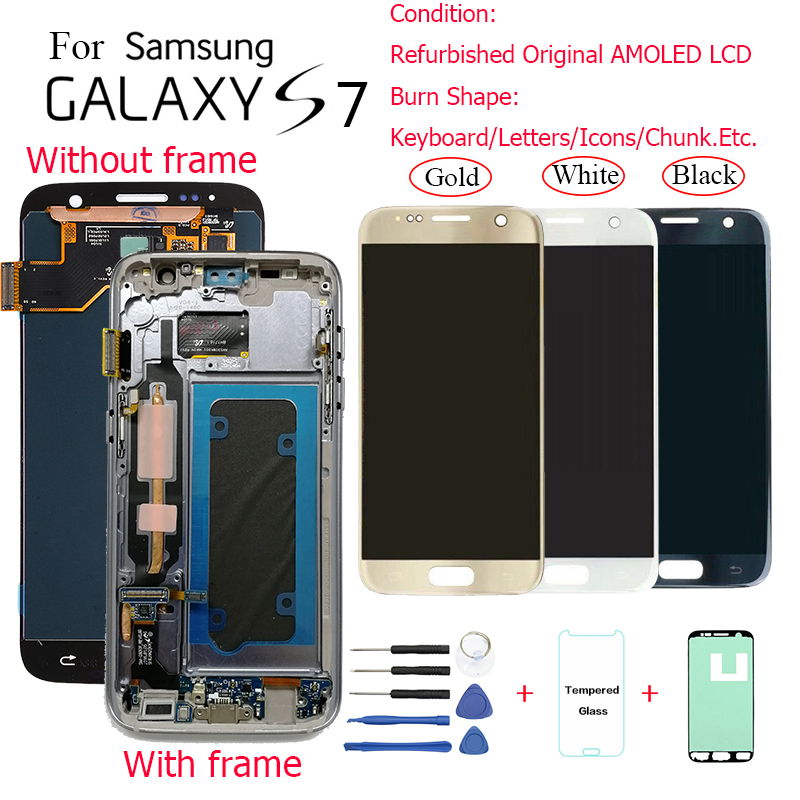 For <font><b>Samsung</b></font> <font><b>S7</b></font> <font><b>G930F</b></font> G930FD <font><b>Display</b></font> <font><b>LCD</b></font> screen replacement for <font><b>Samsung</b></font> <font><b>S7</b></font> G930V G930T <font><b>display</b></font> <font><b>lcd</b></font> screen module have burn shadow image