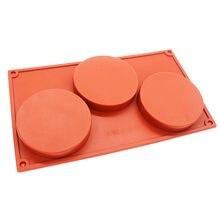 Moule à gâteaux en Silicone à 3 cavités, grand disque rond pour bonbons, cylindre peu profond, Collection classique