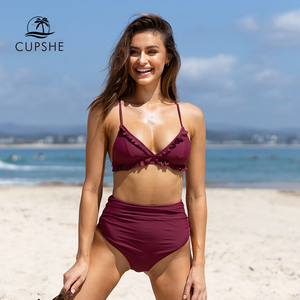 Image 1 - CUPSHE Solid Burgundy Ruffled High Waisted Bikini Sets Sexy Padded Swimsuit Two Pieces Swimwear Women 2020 Beach Bathing Suits