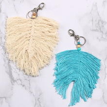 Small Macrame Tapestey Keychain Hand-woven Feather Plush with Pendant Bohemian Style wall hanging