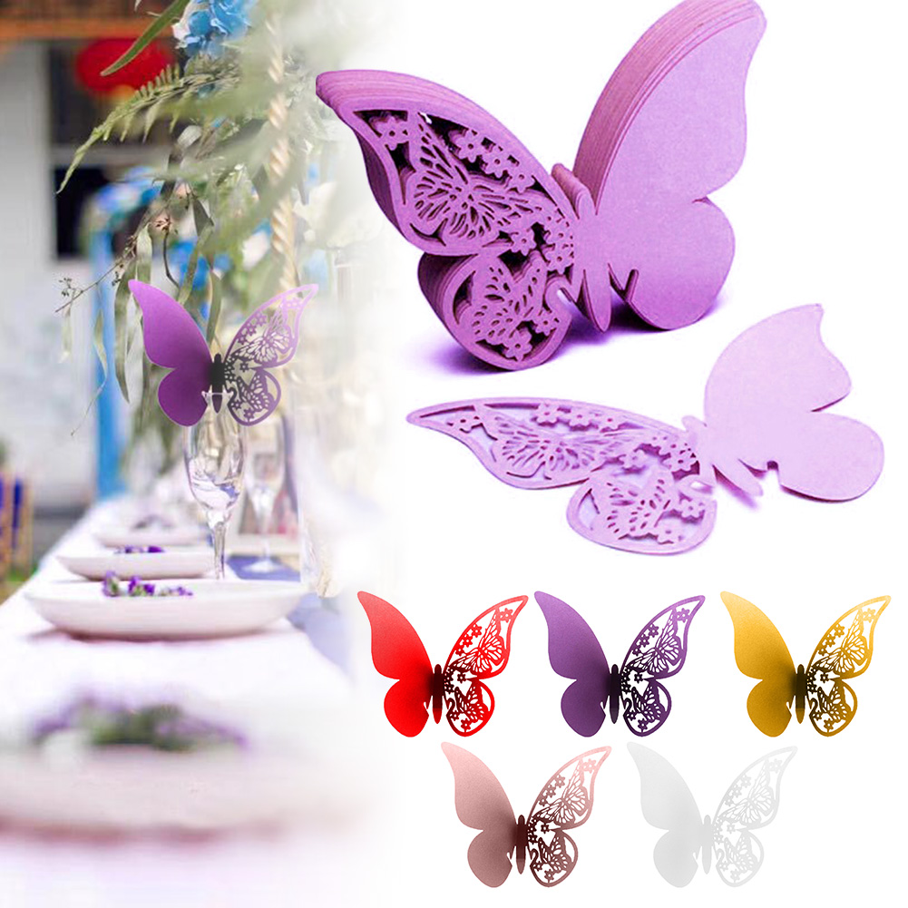 100pcs Butterfly Name Place Card for Wedding Champagne Wine Glass Party Table Number  DC120