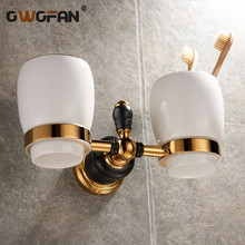 New Golden brass double cup holder luxury style  toothbrush tumbler wall mount bathroom accessories XL-66804