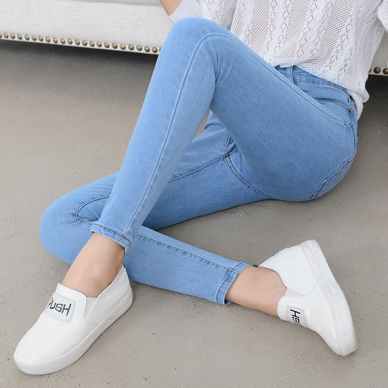 New Slim Jeans Women Skinny High Waist High Elastic Jeans Woman Denim Pencil Pants Stretch Waist Women Jeans Long Pants