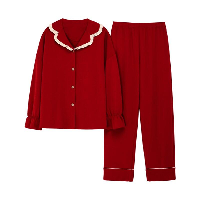 Pure Red Cotton Women's Pajamas Set Long Sleeve Sleepwear Nightwear Pj Lounge Sets Pyjamas Pijama Pijamas Pizama Damska