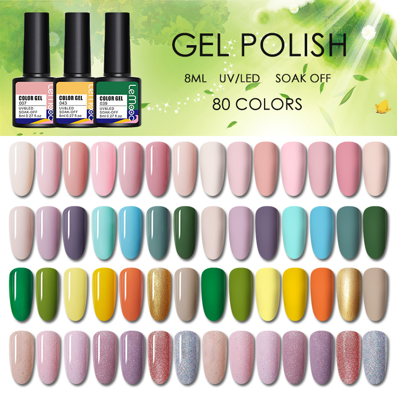 LEMOOC Nail Gel Polish 8ml Soak Off Semi Permanent Hybrid Nail Gel Lacquer UV/LED Gel Vanish For Manicure Base Matte Coat Needed