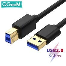 Qgeem ceia velocidade usb 3.0 cabo de impressora usb 3.0 am para bm cabo usb3.0 cabo de extensão cabo de impressora de fio para impressora hp
