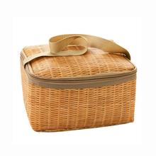 Outdoors Portable Camping Picnic Bags Imitation Rattan Picnic Bag Insulated Thermal Cooler Basket Lunch Storage Box 22*14*12CM multifunction picnic bag basket outdoor camping school lunch basket thermal large storage beach tote portable insulated handbags