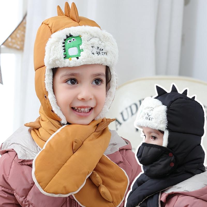 Children's Dinosaur Thick Cap Mask Scarf Set Warm Autumn  Winter Boys Girls  Baby Outdoor Travel Wind-Resistant Ear Cap