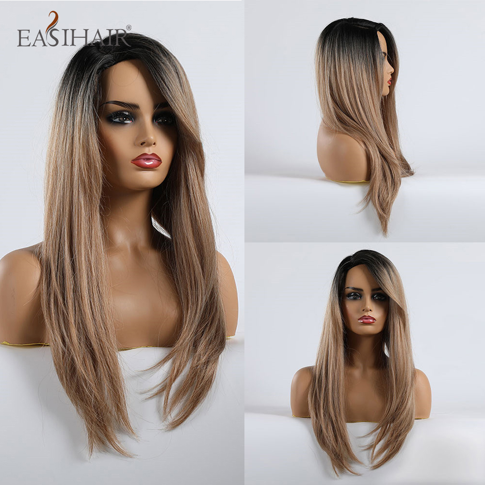 EASIHAIR Long Ombre Black Brown Straight Wigs With Wave Side Bangs Synthetic Wigs For Black Women Glueless Cosplay Wigs