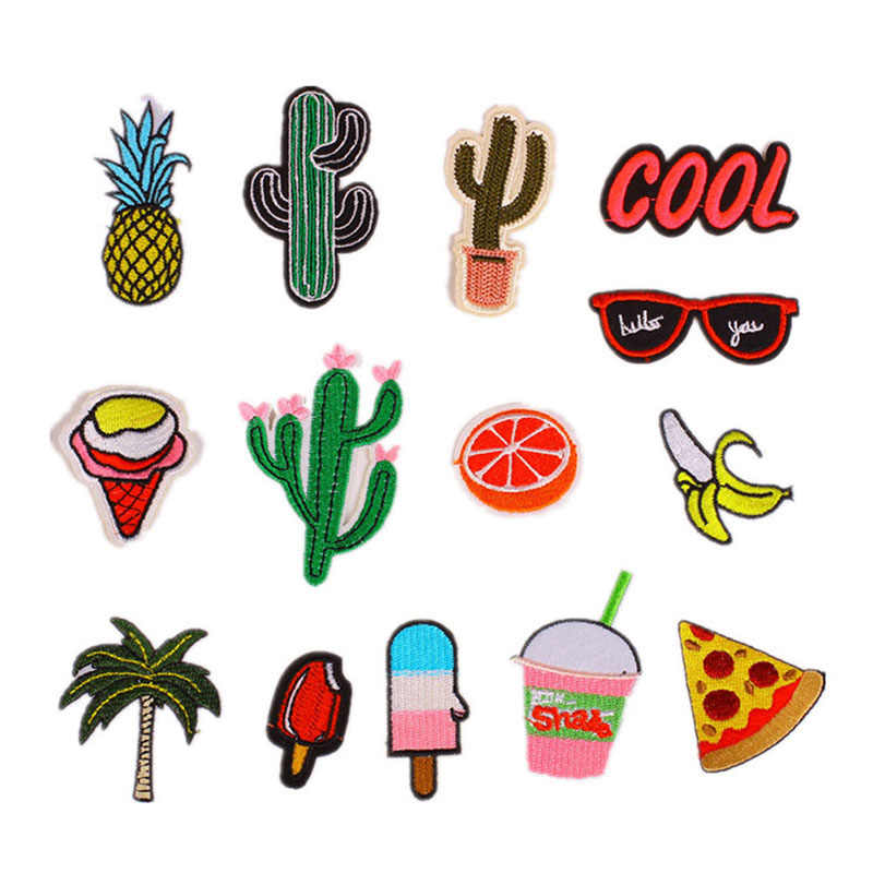 14 Pcs/15Pcs Mixed Iron On Embroidery Patches Summer Fabric Badge Stickers For Clothes Jeans Decor MJJ88