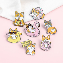Puppy Holiday Life Enamel Pin Swimming Diving Pizza Donuts Brooches Bag Lapel Pin Cartoon Dog Badges Jewelry Gift Kids Friends