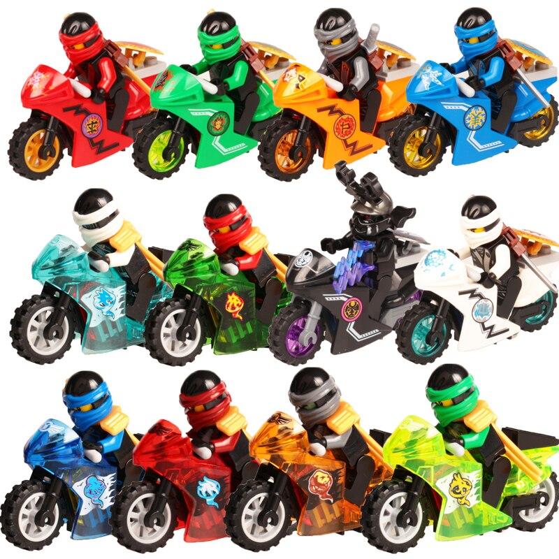 Ninjagoed Minifigs Figures Toys Nya Motorcycle Golden Ninja Heroes Skylor Pythor Snake Lloyd Zane ZX Morro DIY Buliding Blocks