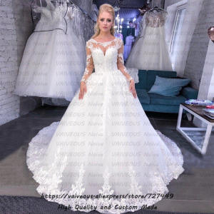 Vestido Novia Boho New Bohemian Illusion Tulle Long Sleeve Wedding Dress 2020 Appliques Ball Gown Bridal Dresses Robe de Mariee