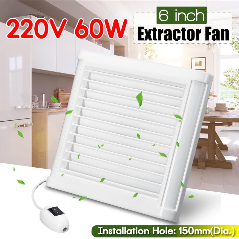 4/6Inch 60W 220V Efficient Exhaust Fan Toilet Kitchen Bathroom Hanging Wall Window Glass Small Ventilator Extractor Exhaust Fan