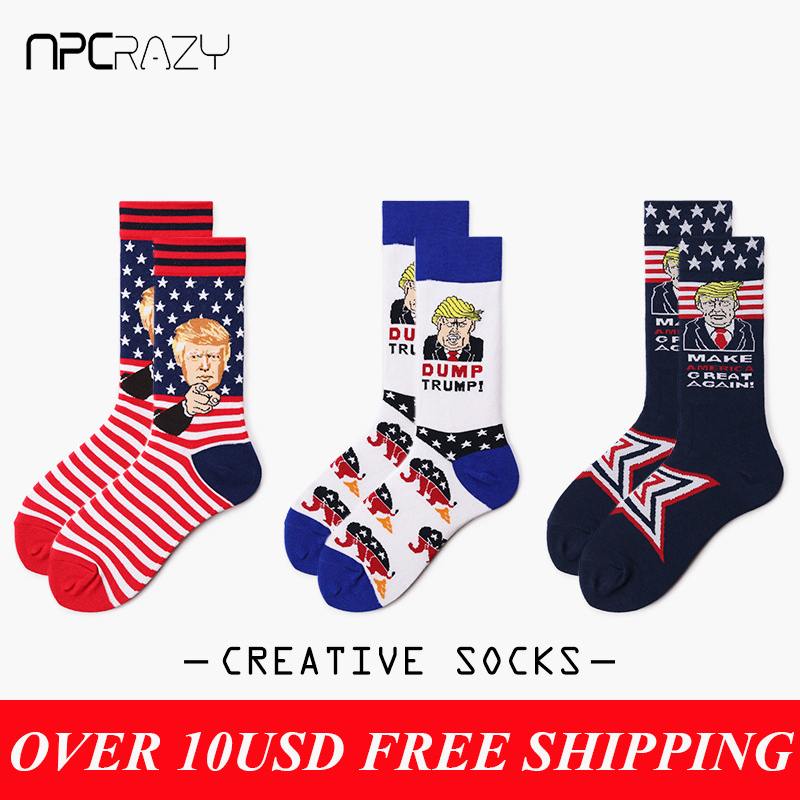 American President Trump Socks Men Pure Cotton Comic Funny Sockken USA Flag Men's Gifts Sock
