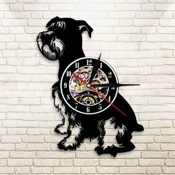 Schnauzer Dog-Reloj De Pared con disco De vinilo Vintage, Reloj De 12...