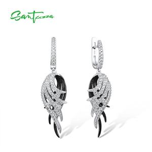 Image 1 - SANTUZZA כסף נוצת Drop עגילים לנשים 925 סטרלינג עגילי כסף שחור לבן נוצת תכשיטים