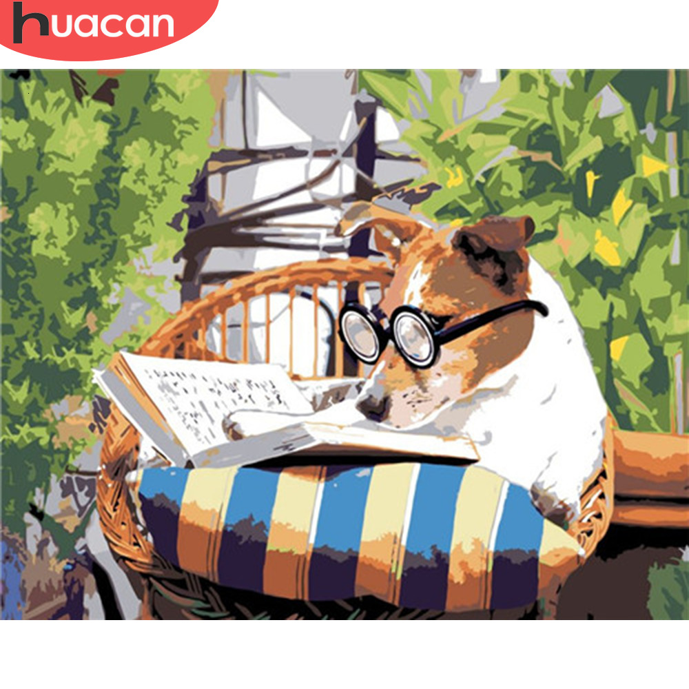 HUACAN Painting By Numbers Dog Animals HandPainted Kits Drawing Canvas Book Pictures Home Decoration DIY Gift