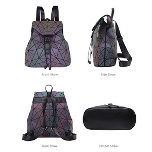 Image 3 - Bao Mochila con cordón luminoso para mujer, morral diario con geometría, mochilas escolares plegables para adolescentes