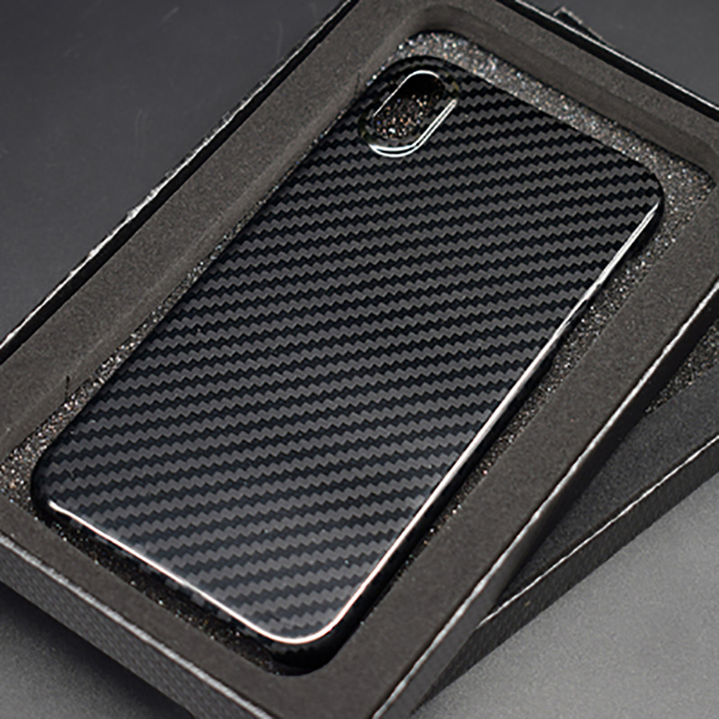 black Real pure black Carbon Fiber protection fashion simple phone shell for Iphone 7 8 plus X S R MAX ultra-thin phone case
