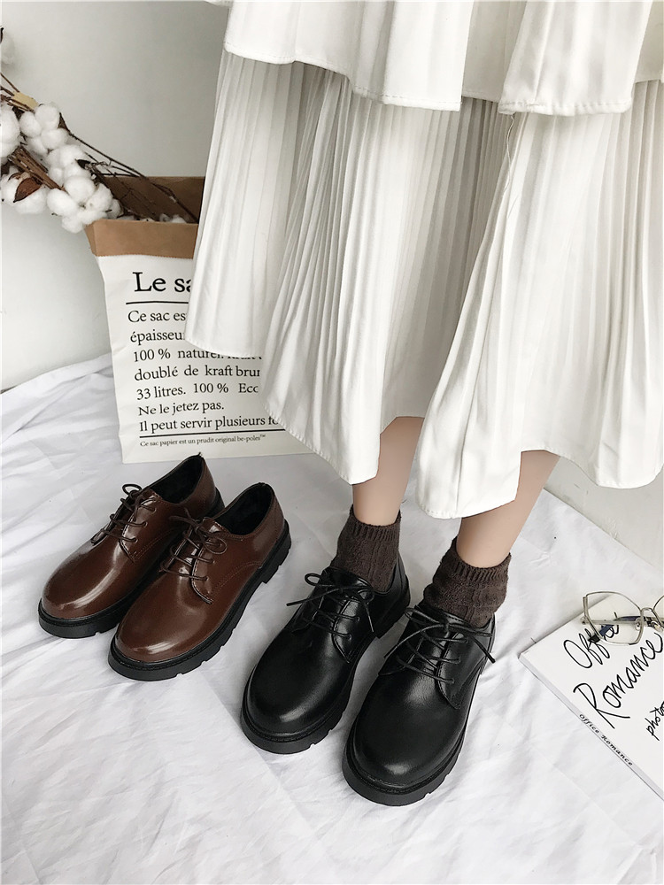 Women's Shoes 2019 New Korean Version Of The Temperament Lace Small Shoes Fashion Trend British Wind Single Shoes
