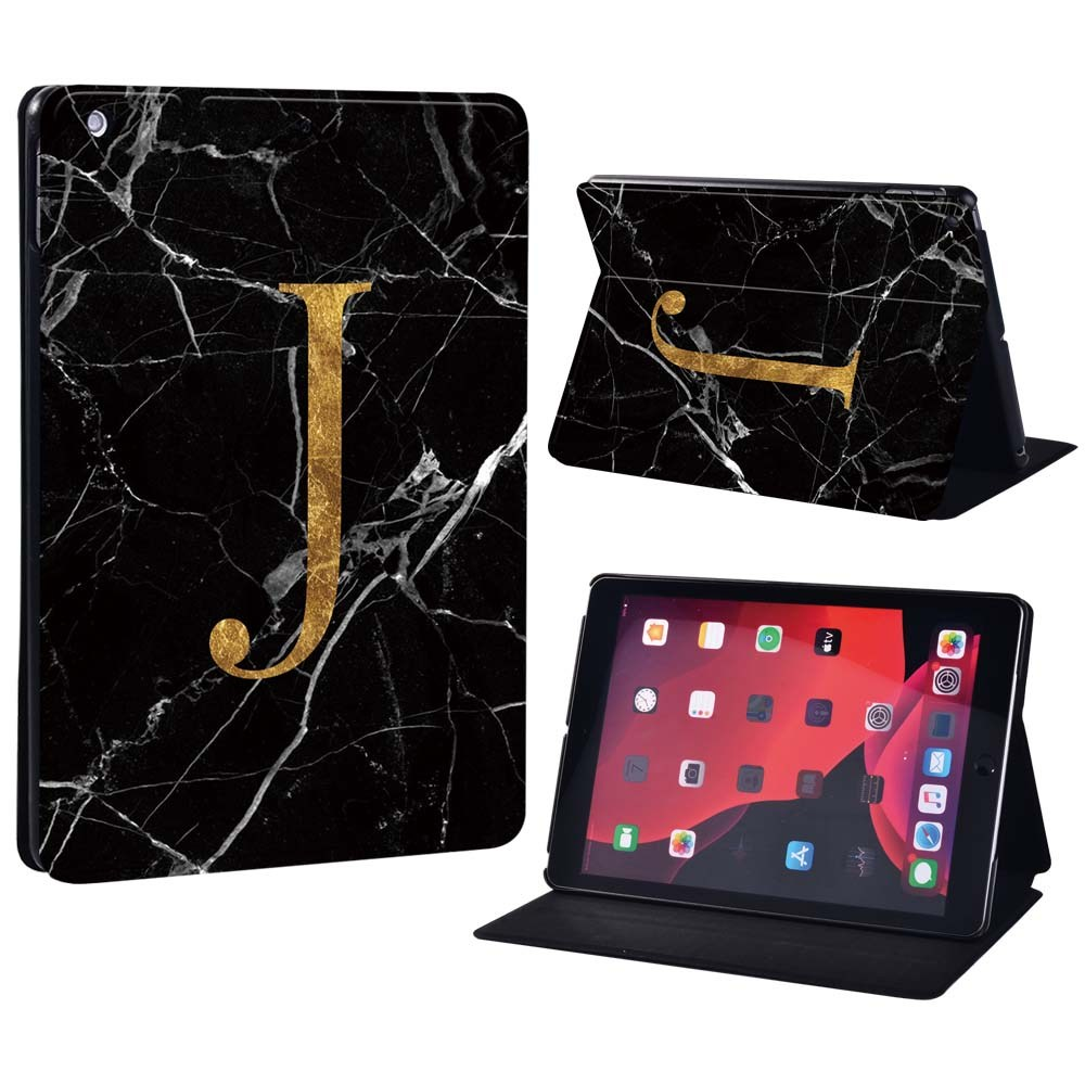letter J on black Gold For Apple iPad 8 10 2 2020 8th 8 Generation A2428 A2429 Printing initia letters PU