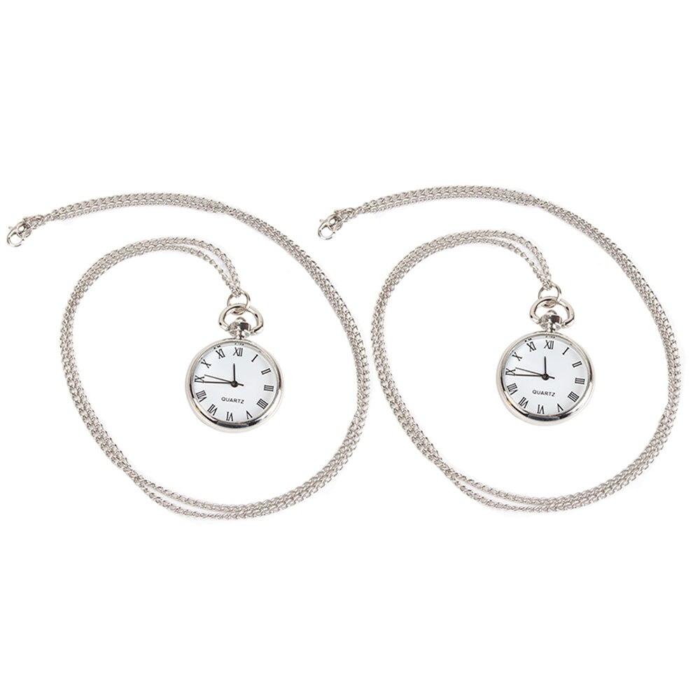 2* Roman Numerals Round Dial Quartz Movement Silver White Hanging Chain Pocket Watch