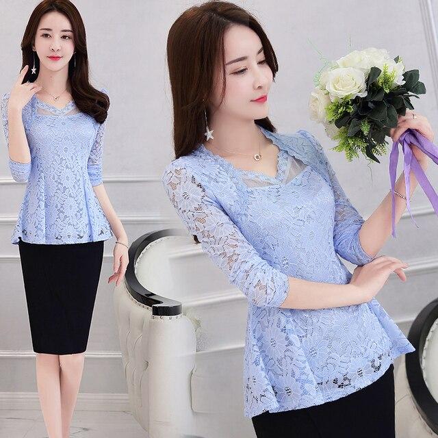 Plus Size M-4XL Lace Women clothing Pink Blusas 2021 New Lace Shirt Tops Female Elegant Long-sleeve Lace Women Blouse shirt 117F 10